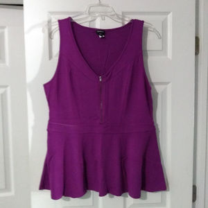Torrid Purple Peplum Top W/ Zipper in Front